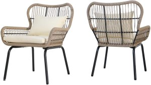 hristopher Knight Home Karen Outdoor Club Chairs, Steel and Rope, Water-Resistant Cushions, Boho, Brown and Beige (Set of 2)