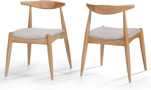 Christopher Knight Home Francie Fabric with Oak Finish Dining Chairs, 2-Pcs Set, Beige