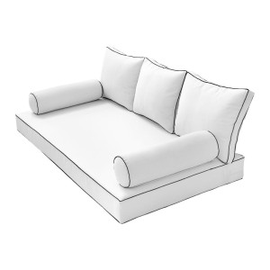 Style3 Twin Size 6PC Contrast Pipe Trim Outdoor Daybed Mattress Cushion Bolster Pillow Complete Set AD106