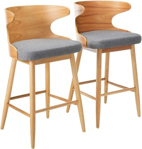 Christopher Knight Home Truda Mid Century Modern Fabric Barstools | Set of 2 | in Light Grey, Natural