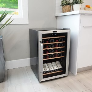 Whynter FWC-341TS 34 Bottle Freestanding Wine Refrigerator with Display Shelf and Digital Control, Stainless Steel, One Size
