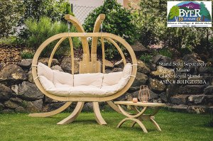 """BYER OF MAINE Globo Royal Double Chair, Treated Spruce Wood, Weatherproof, Waterproof, Agora Outdoor Fabric Cushion, Two Person, 70"""" W x 48"""" h x 30"""" D, Holds Up to 440lbs, Natural"""