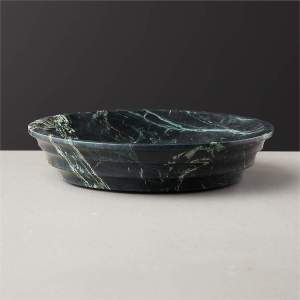 Found mainly in the Indian state of Rajasthan, the dark green stone is known for its active white veining. Polished and hand-carved with a refined tiered edge, this is the ultimate catch all, fruit bowl or decorative object. Due to the natural beauty of the marble, each will be unique.