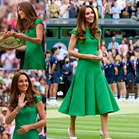Kate Middleton IN clover-green Emilia Wickstead dress with clap sleeves and a skirt cut.