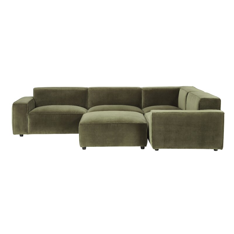 """Bobby Berk 105"""" Wide Faux Leather Reversible Modular Sofa & Chaise with Ottoman"""