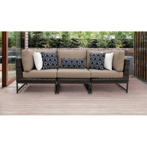 """Consuelo 95"""" Wide Wicker Patio Sectional with Cushions"""