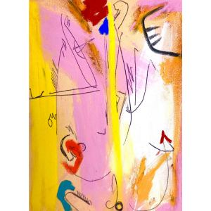 Contemporary Abstract Pastel Drawing on Paper by Erik Sulander