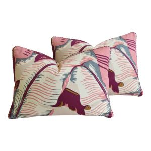 """Cw Stockwell Iconic Martinique Banana Leaf Feather/Down Pillows 22"""" X 16"""" - Pair"""