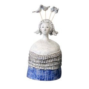 WOMAN WITH BIRDS SCULPTURE