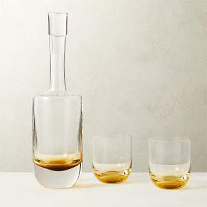 DUVAL DECANTER WITH AMBER DOUBLE OLD-FASHIONED GLASSES SET OF 2