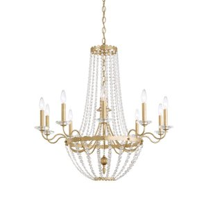 Early American 10 - Light Candle Style Empire Chandelier with Crystal