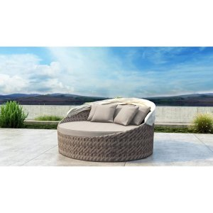 Gillham 67'' Wide Outdoor Wicker Patio Daybed with Sunbrella Cushions
