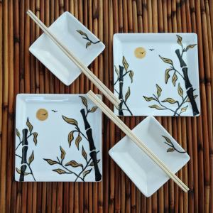 SUSHI DATE NIGHT Sushi Plate Ramekin and Chop Stick Set for 2 Hand Painted Gold and Black Bamboo design on porcelain plates unique plate set