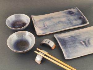 Sushi set for two. Handmade ceramic sushi set. Includes 2 sushi plates, 2 soy sauce bowls and 2 chopstick rests