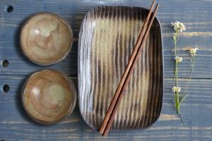 Rustic Sushi Set, Serving Ceramic Sushi Dishes, Serving Sushi Plate, sauce dishes