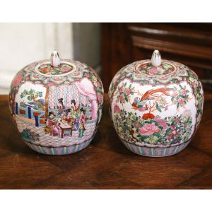 Mid-Century Chinese Famille Rose Porcelain Melon Jars - a Pair