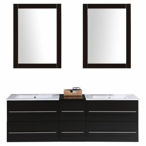 """Morford 60"""" Wall-Mounted Double Bathroom Vanity Set with Mirror"""