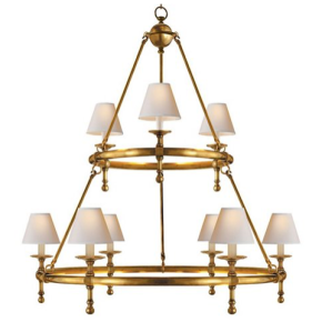 Classic Two-Tier Ring Chandelier, Antiqued Brass