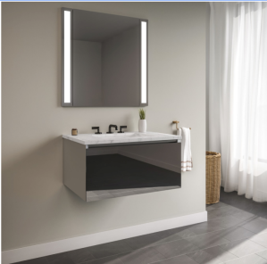 """Robern Curated Cartesian 24"""" Wall Mounted / Floating Single Vanity Set with 1 Drawer Aluminum Cabinet and Engineered Stone Vanity Top"""