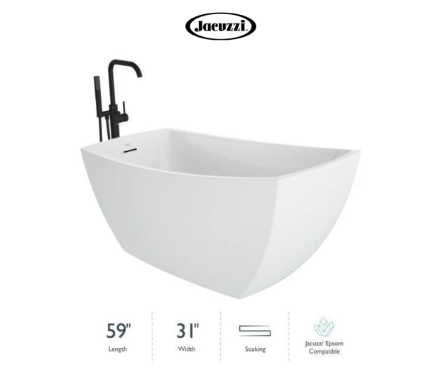 """Jacuzzi Stella 59"""" Free Standing Acrylic Soaking Tub with Reversible Drain, Drain Assembly and Overflow - Includes Floor Mounted Tub Filler with Hand Shower Model:STM5931BUXXXXG"""
