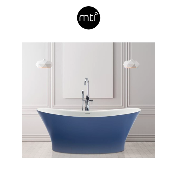"""MTI Baths Mallory 65.5"""" Free Standing SculptureStone with Center Drain Placement and Overflow Model:S242-WH-MT-SSCOLTG (SB)"""