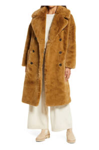 Belted Recycled Polyester Faux Fur Coat