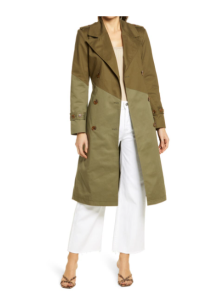 Pieced Colorblock Trench Coat