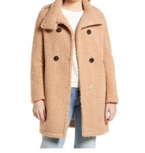 Double Breasted Faux Shearling Teddy Coat