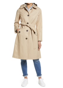 Water Repellent Belted Trench Coat with Removable Hood