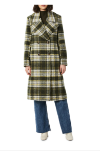 Plaid Double Breasted Wool Blend Coat