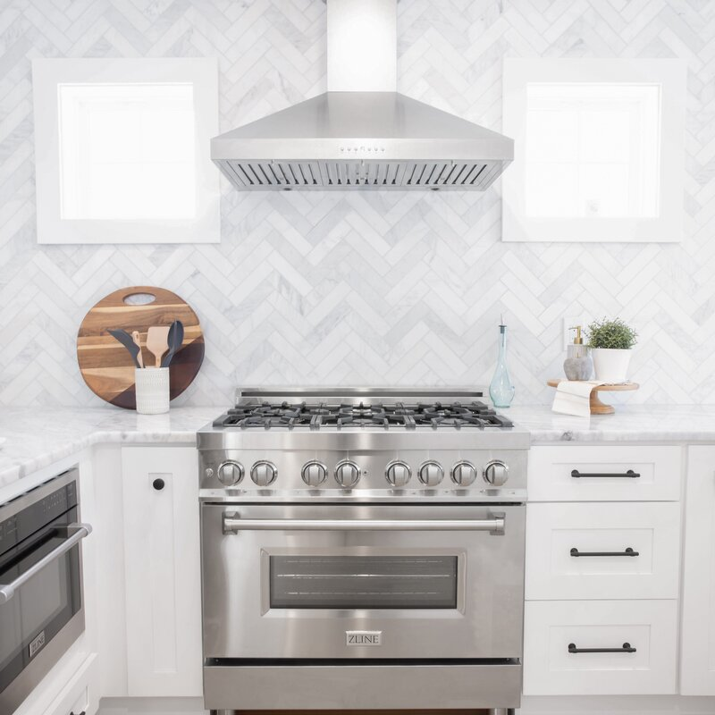 """ZLINE 36"""" 4.6 cu. ft. Freestanding Dual Fuel Range with Gas Stove and Convection Electric Oven in Stainless Steel"""