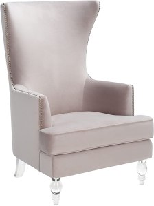 SAFAVIEH Couture Home Collection Geode Pale Taupe Velvet/Clear Acrylic Legs Nailhead Trim Wingback Chair SFV4745C