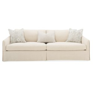 """Caracole Upholstery 90.5"""" Round Arm Slipcovered Sofa with Reversible Cushions"""