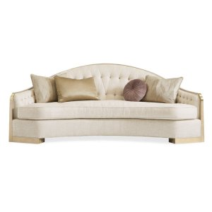 """Caracole Upholstery 92"""" Recessed Arm Curved Sofa with Reversible Cushions"""