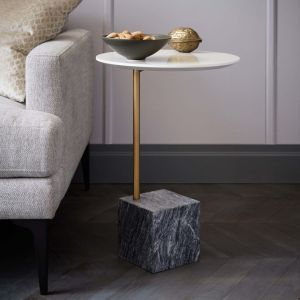 Cube C-Side Table - White/Gray Marble