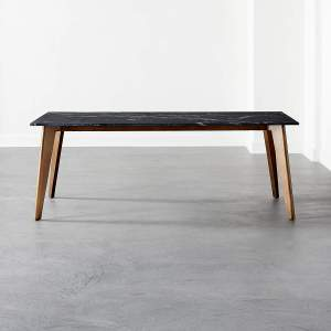 HARPER BRASS DINING TABLE WITH BLACK MARBLE TOP