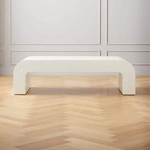 """HORSESHOE IVORY LACQUERED LINEN 46"""" COFFEE TABLE"""
