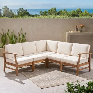 Jalissa Teak Patio Sectional with Cushions