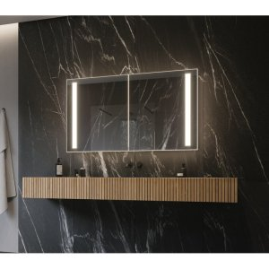 """Lency 48"""" x 28"""" Surface Mount Frameless Medicine Cabinet with 3 Shelves and LED Lighting"""