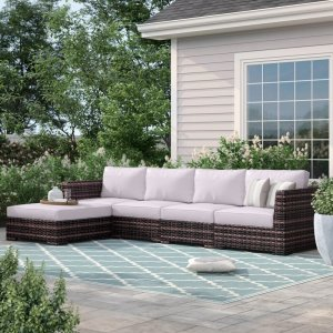 """Letona 120"""" Wide Outdoor Wicker Patio Sectional with Cushions"""