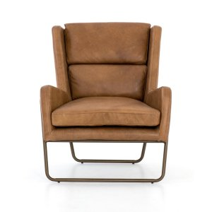 Metal Genuine Leather Wingback Chair