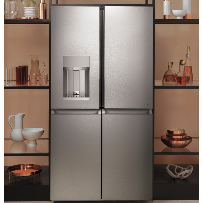 """Modern Glass 36"""" Smart French Door Energy Star 27.4 cu. ft. Refrigerator with Convertible Zone"""