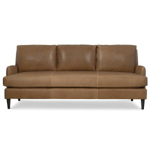 """Remy 82"""" Genuine Leather Recessed Arm Sofa"""