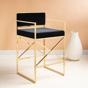 """SAFAVIEH Couture Kian Velvet 26-inch Director's Chair Counter Stool - 20.5"""" W x 20.9""""L x 35.8"""" H - Black / Gold"""