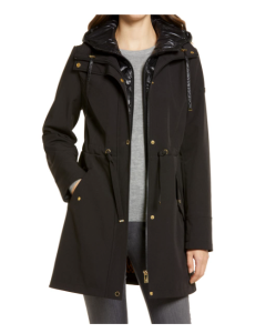Water Repellent Coat with Quilted Hooded Liner