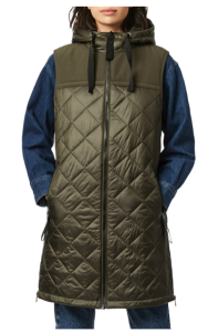 Recycled Nylon Quilted Long Vest with Hood