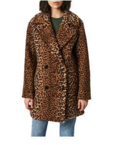 Animal Print Double Breasted Bouclé Coat