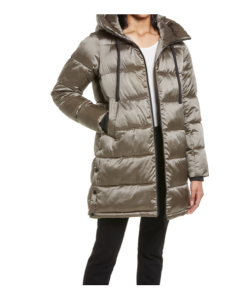 Funnel Collar Water Repellent Puffer Coat with Removable Hood