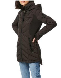Quilted Neoprene Hooded Puffer Coat