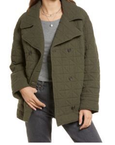 Double Breasted Diamond Quilted Cotton Jacket